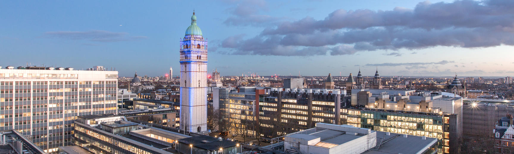 A view of South Kensington Campus and the Queen's Tower, early on a winter's evening.
