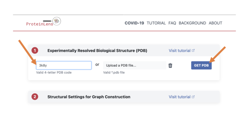 """Input the PDB ID """"3K8Y"""" and select """"get PDB"""""""