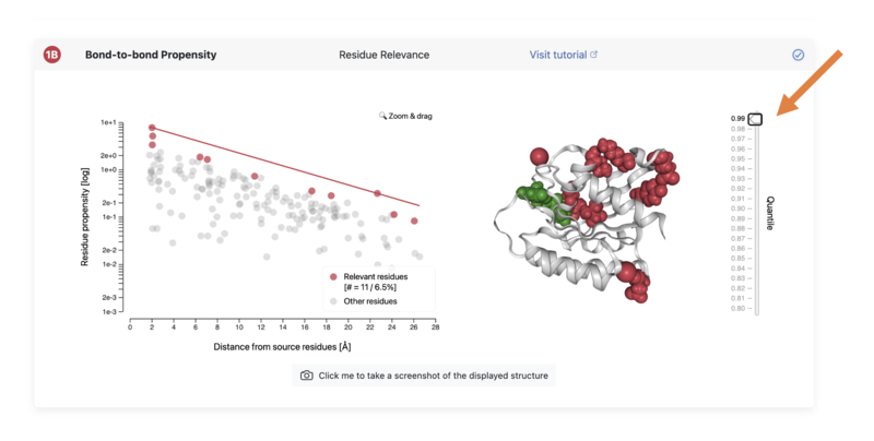 1B Results section showing areas on the protein that are highly correlated with the ligand binding site that we chose as the source